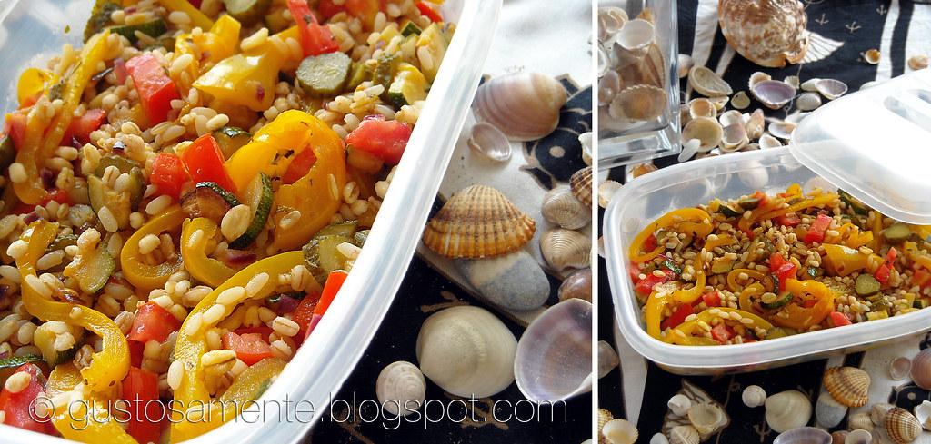 """Insalata """"da spiaggia"""" con cereali e verdure agrodolci"""