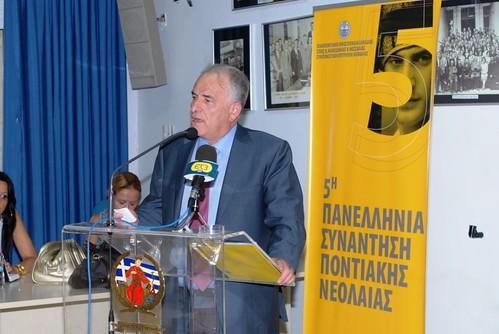 Ο πρόεδρος της Παμποντιακής Ομοσπονδίας, καθηγητής, κ. Γεώργιος Παρχαρίδης κατά τον χαιρετισμό του