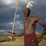 Pokot tribe chieftain with an ostrich feather on the head - Kenya