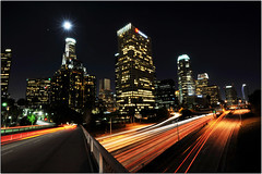 City of Night Angels (Extra Medium) Tags: longexposure skyline night losangeles downtown fullmoon explore 1735mmf28d frontpage 30secondexposure 110freeway
