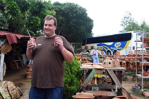 Mazatlan Pottery Stop - Mike Handles the Trash