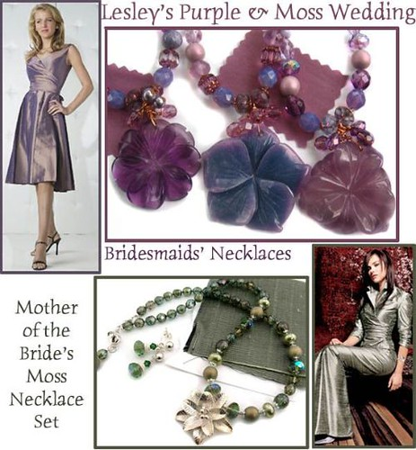 Lesly's Purple & Moss Wedding; Mother of the Bride, Bridesmaid's Necklaces Set