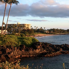 A view looking south along the Wailea Boardwalk moments before sunset.