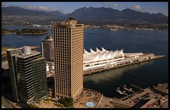 Vancouver, B.C, Waterfront (Brandon Godfrey) Tags: vancouver britishcolumbia bc waterfront canadaplace thevanvouversunbuilding canada 2010olympics northvancouver coalharbour cruiseshipdock urban city vancouverlookout thetopofvancouver harbourcentre harbourcenter grousemountain hdr highdynamicrange tonemapped tonemapping downtown skyline mountains clouds cypress amazing outstanding pictures photos images pics fantastic shots photo picture shot alpha dslr dslra300 sony a300 creativecommons northamerica pacificnorthwest