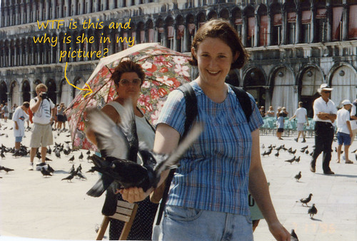 me, some birds attacking my hand, and a strange woman peeping
