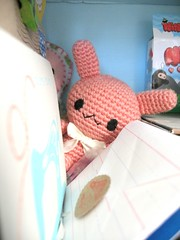 Hi! there .... (Warm 'n Fuzzy) Tags: pink rabbit bunny mail desk plush kawaii amigurumi usagi snailmail