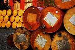 Drums (B. Sorg) Tags: camera sunset red yellow digital dark nikon rust barrels images dslr d40