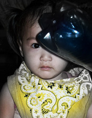 The One-Eyed Monster (LOL) (CaptainBoga) Tags: blue baby man girl smile face yellow bottle eyes child pirate mysterious