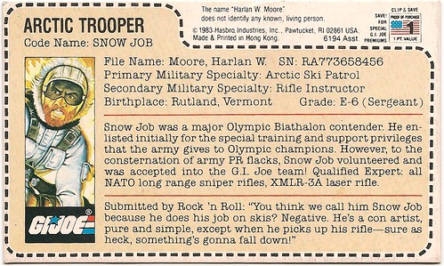 1983 Hasbro GI JOE Snow Job File Card