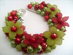 010 (kim smith charm bracelets) Tags: uk flowers red summer tree green apple glass fashion garden bright handmade jewelry pearls jewellery bracelet pearl lime seller beaded