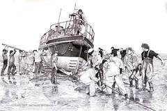 PULLING BACK ON STATION (Norfolkboy1) Tags: england norfolk lifeboat stipple penink wellsnextthesea rapidograph pointillism bythesea originaldrawing panthonybromage
