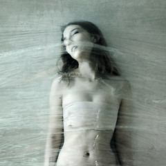 wallen (brookeshaden) Tags: selfportrait texture wall dead trapped stuck tomb longhair wrap pale plastic squareformat mummy breathe crooked plasticwrap claustrophobia lifeless suffocation strapped acebandage unmoving nikond80