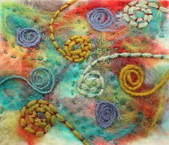 Embellisher spirals (jillyspoon) Tags: abstract colour wool embroidery yarn needlefelting textiles handstitched roving needlefelted embellisher couched