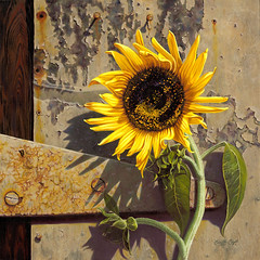 """""""Sunflower at the Old Factory""""- oil painting by Camille Engel (CamilleEngelArt) Tags: old yellow painting factory tn nashville sunflower oil engel camille"""