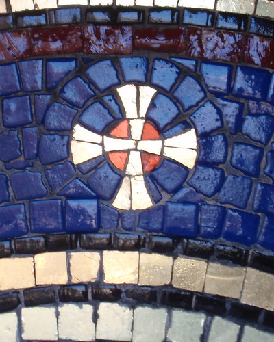 Gold cross in blue mosaic