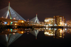 The Leonard P. Zakim Bunker Hill Bridge *E#88 (Craig Stevens <castevens12>) Tags: cambridge reflection night landscape highway cityscape charlesriver nighttime somerville charlestown bunkerhill zakim northpoint mgh beantown zakimbridge kenmoresquare leonardpzakim bostonmassachusetts massachusettsgeneralhospital masseyeandear