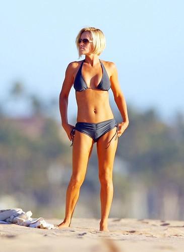 Jenny McCarthy in bikini on beach