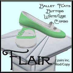 Flair-Ballet Flats-Buttons-White Lime Combo