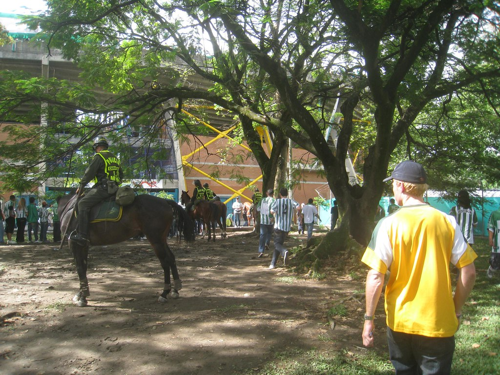 Colombian police on horseback help maintain order outside Medellin's soccer stadium.