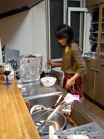 Masako preparing our dinner