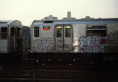 Ghost and Ket in the yard, 1990 (KET ONE) Tags: nyc newyorkcity white subway graffiti ghost throwup ket alanket