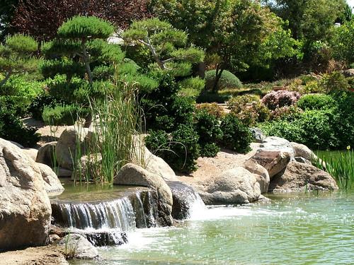 Waterfalls in the Japanese Friendship Garden in Phoenix, Arizona
