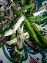 Marinated Anchovy , Green Bean and Red Onion Salad