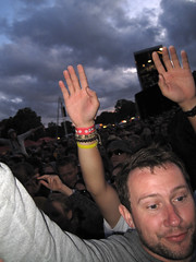 Lovebox Weekender (russelljsmith) Tags: uk friends england sky people music london face festival dark fun james concert holding hands victoriapark europe russell air gig crowd guys smith front drinks drunks bracelets wrist 2009 lovebox toward loveboxweekender 77285mm loveboxweekender2009 lovebox2009 lastfm:event=861454