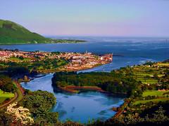 Narrow Water from Flagstaff Hill (Rathmore Rambler) Tags: ireland panorama castle ferry landscape olympus flagstaff c5060 topaz carlingfordlough codown blueribbonwinner narrowwater tonemapped worldwidelandscapes