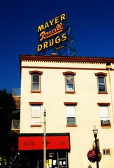 Mayer Rexall Drugs (Blackburn Photography) Tags: signs sign wisconsin neon drugs kenosha mayers drugstores rexall moscafe mayerrexalldrugs federalsigncompany scaffoldsigns