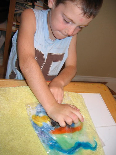 Hot Rod working on his felt picture