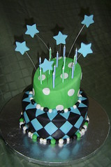 Topsy Turvy Birthday Cake... (It's All About the Cake) Tags: blue green stars polkadots birthdaycake topsyturvy fondant diamondpattern