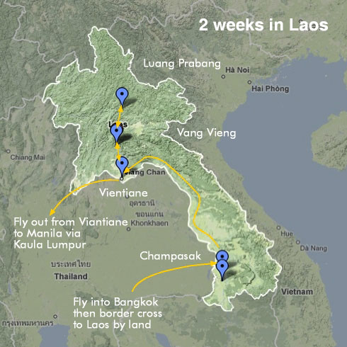 Laos Route Map