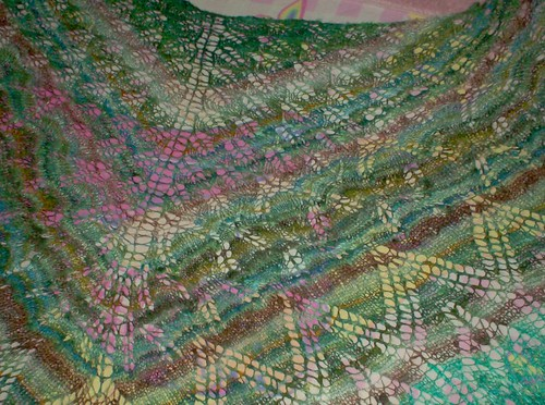 Knitted lace shawl Knitty Aeolian handspun silk stripes