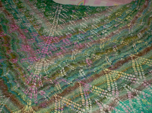 Blocked silk handspun aeolian shawl