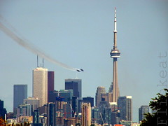 Blue Angels in Toronto Skyline (flipkeat) Tags: blue toronto ontario skyline landscape outdoors us aircraft flight formation airshow demonstration explore angels acrobatics hornet unusual boeing squadron fa18 aeronautic navys dsch50 farfarawaylol takenfrommississauga