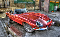 1966 Jaguar E-type Roadster (elementalPaul) Tags: red reflection water car puddle scotland classiccar edinburgh pentax tripod explore leith jaguar hdr sportscar redcar etype classiccarclub etypejaguar photomatixpro 5xp  k10d pentaxk10d jaguarcar 1966jaguaretyperoadster
