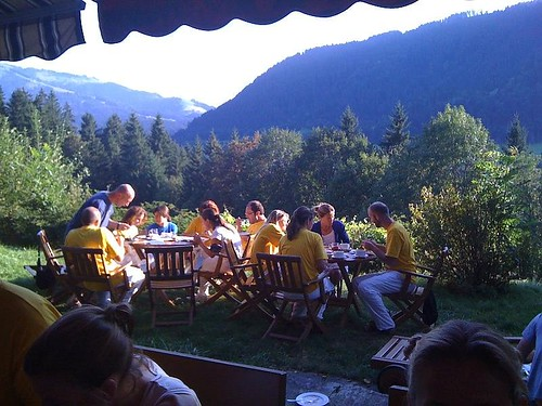 Eating together, overlooking the mountains