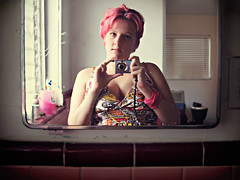 camera pink windows woman sunlight selfportrait me window girl self tile bathroom mirror dress djembe naturallight sleepy messy venetianblinds cleavage paisley pinkhair chippedpaint dyedhair cavale