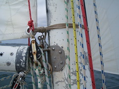 Jury Rigged tack (Figgles1) Tags: club day sailing rig opening fremantle 2009 westernaustralia openingday tack fsc jury mainsail pipedream juryrig fremantlesailingclub pipedreamii pa111950