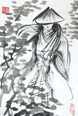 Samurai in Forest (plasticpumpkin) Tags: fighter manga warrior samurai wanderer traveler asianart bushido brushpainting ishkolorkraft