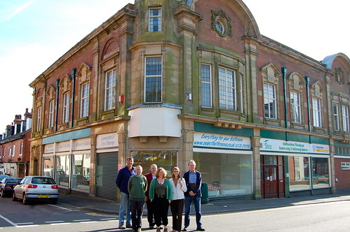 Members of Leek Co-operative Society outside the Emporium with Jim Pettipher, of Co-operative Futures, far left