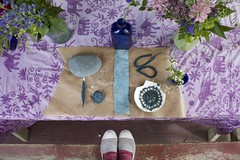 indigo blue bench monday (knitalatte11) Tags: blue plant bench purple feather indigo shell porch monday bambo lateafternoon naturaldyeing crochetcoveredstone