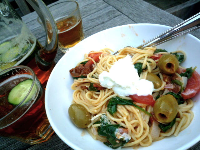 Car smash pasta and Pimms and lemonade