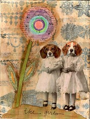 The girls (HA! Designs - Artbyheather) Tags: birthday flower dogs collage ink vintage paper fun photo sears funky jewelry gift page catalog hadesigns artbyheather