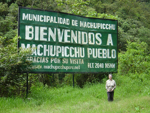 The Aguas Calientes welcoming sign