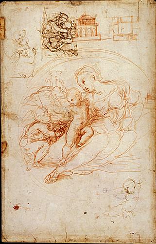 1511  Raphael    Study for the Alba Madonna, recto  Red Chalk 42,2x27,3 cm  Lille, Musée des Beaux-Arts