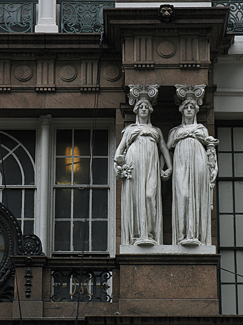 sculptures on the Macy's building, Manhattan, NYC