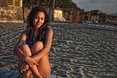 sunset (mykworks) Tags: woman beach girl beauty smile face lady female relax eyes sand philippines lips german filipina bellamy zambales belai mykworks