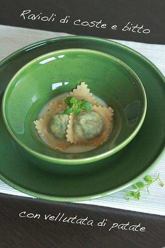 Ravioli di coste e bitto con vellutata di patate